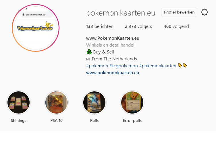 Pokémon kaarten verkopen op Social Media