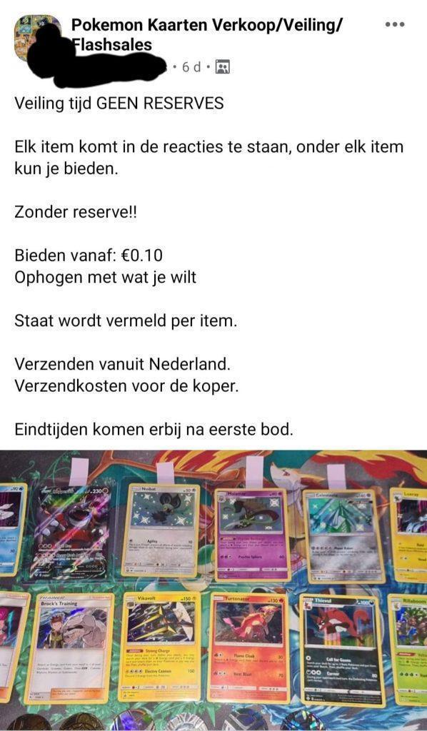 Pokémon kaarten veilen op Facebook